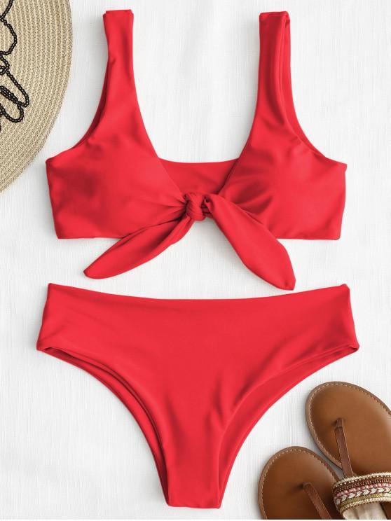 trendy ZAFUL Tie Front Padded Bikini Set - BRIGHT RED M