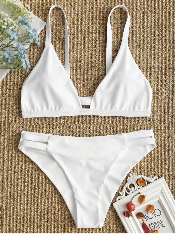 Bikini Fruncido de Tirantes Finos con Detalle Escotado de Escalera - Blanco S