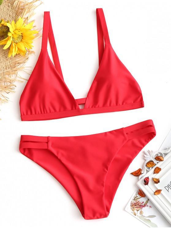 best Ladder Cut Cami Ruched Bikini - RED XL