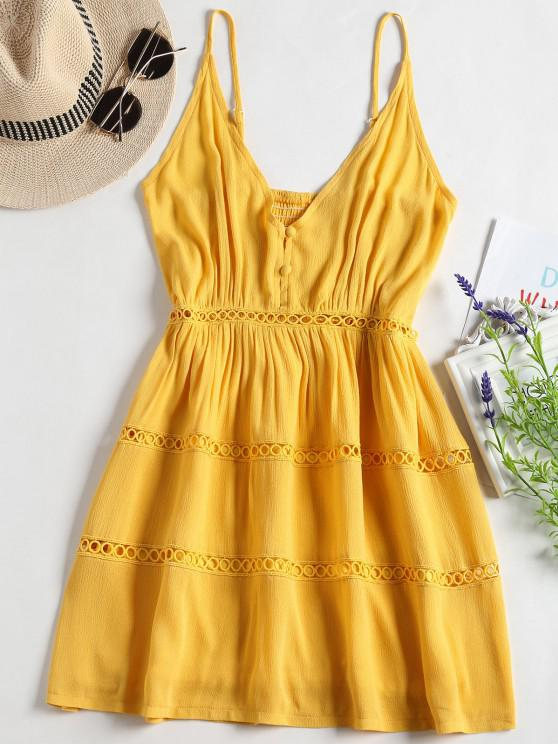 fancy Hollow Out A Line Cami Dress - YELLOW S