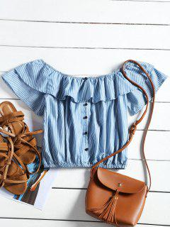 Flounce Off Shoulder Striped Cropped Blouse - Blue M