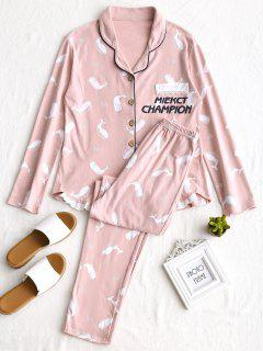 Laced Whale Graphic Pajamas Set - Pink L