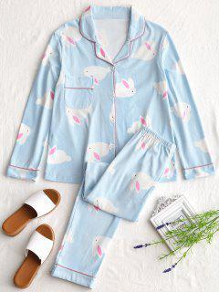 Cotton Rabbit Graphic Pajamas Set - Light Blue 2xl