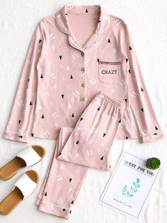 Stenciling Cotton Pyjama Set - Pink L