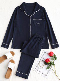 Cotton Lucky Graphic Pajamas Set - Purplish Blue L