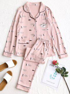 Feather Graphic Pajamas Set - Pink L