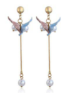 Faux Pearl Fringed Drop Earrings - Blue And Pink
