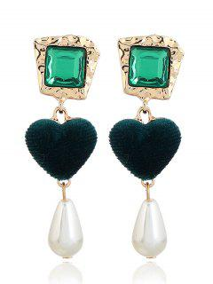 Romantic Heart Faux Pearl Drop Earrings - Green