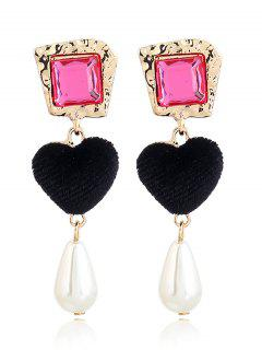 Romantic Heart Faux Pearl Drop Earrings - Black + Rose Red