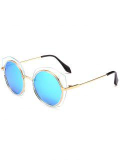 Anti-fatigue Metal Frame Eyebrow Round Sunglasses - Ice Blue
