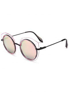 Anti-fatigue Metal Frame Eyebrow Round Sunglasses - Pink