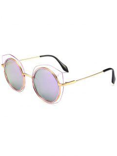 Anti-fatigue Metal Frame Eyebrow Round Sunglasses - Purple
