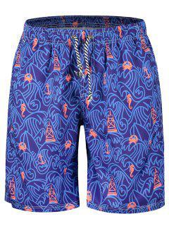 Drawstring Printed Boardshorts - Violet Xl