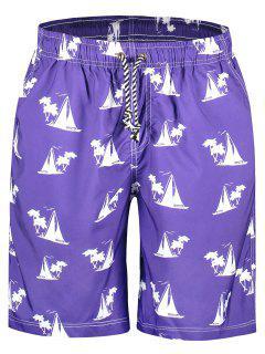 Sailboat Print Board Shorts - Purple L