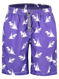 Sailboat Print Board Shorts - Purple M