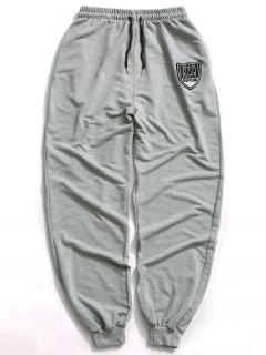 Patch Drawstring Jogger Pants - Gray L