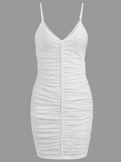 Ruched Mesh Slip Dress - White Xl