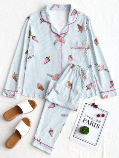 Striped Ice Cream Graphic Pajamas Set - Stripe L