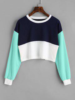 Contrast Crop Sweatshirt - Lake Green L