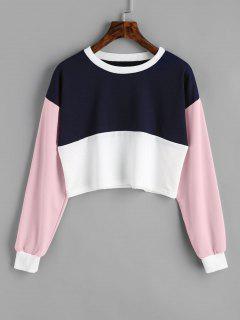 Contrast Crop Sweatshirt - Light Pink S