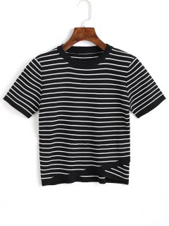 Knitted Overlap Stripes Top - Black S