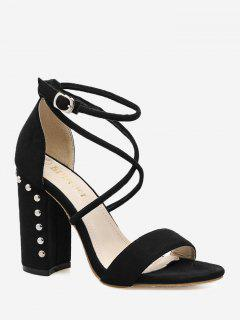 Criss Cross Block Heel Studded Sandals - Black 40