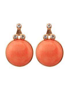 Pendientes Colgantes Triangulares Decorados Con Diamantes De Imitación De Piedra Sintética - Naranja Amarillo