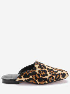 Square Toe Loafers - Leopard Print Pattern 36