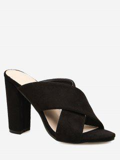 Block Heel Criss Cross Sandals - Black 36
