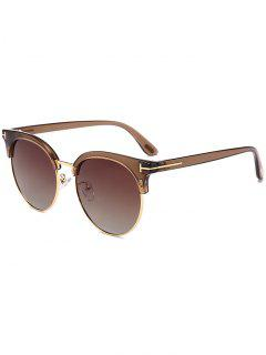 Letter T Decorative Sun Shades Sunglasses - Brown Frame + Grey Lens
