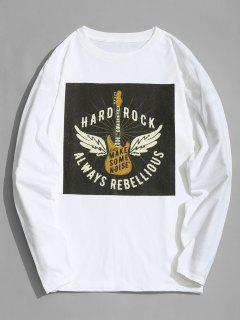 Camiseta De Manga Larga Con Diseño De Guitarra - Blanco Xl