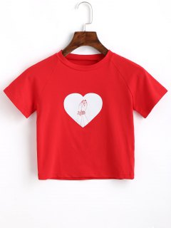 Cropped Cotton Heart T Shirt - Red S