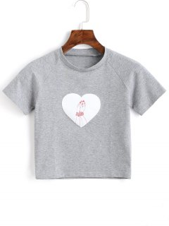 T-shirt Court En Coton - Gris S