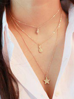 Layered Alloy Pineapple Five-pointed Star Pendant Necklace - Golden