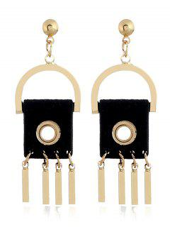 Faux Leather Geometric Bar Earrings - Black