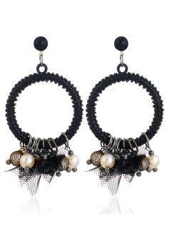 Pendientes De Círculo De Encaje De Perlas De Imitación - Negro