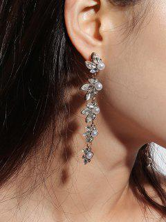 Strass Style Fausse Perle Boucles D'oreilles - Or
