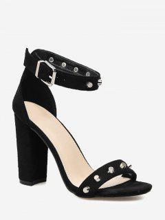 Chunky Heel Studded Strap Sandals - Black 40