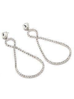 Rhinestone Inlaid Number 8 Drop Earrings - Silver
