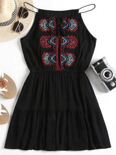 Embroidered Patched Tassels Cami Dress - Black