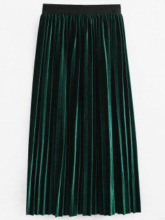 High Waist Pleated Velvet Skirt - Deep Green