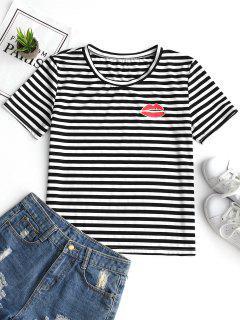 Camiseta Con Cuello Redondo Y Estampado De Labios Con Rayas - Raya Xl