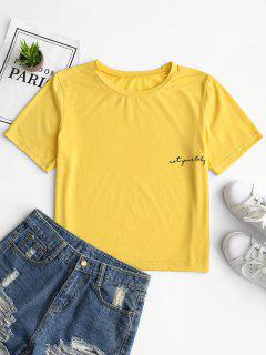 Round Collar Letter Pattern Tee - Yellow L