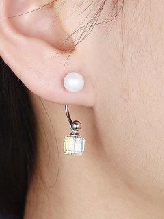 Cubic Faux Crystal Pearl Drop Earrings - Silver