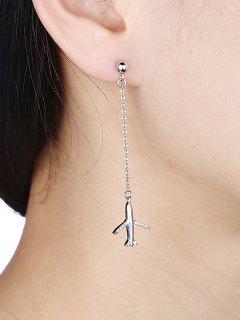 Metal Chain Faux Diamond Airplane Dangle Earrings - Silver