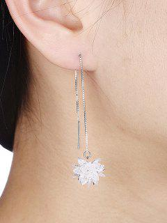 Thread Chain Valentine's Day Ice Flower Drop Earrings - Silver