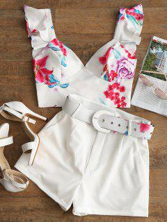 Bralette Ruffle Top And Belted Floral Shorts Set - White L