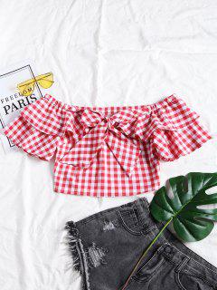 Plaid Ruffle Off Shoulder Top - Checked L