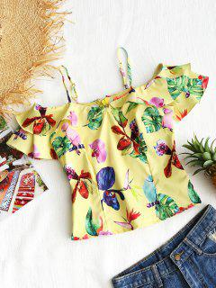 Floral Ruffle Cold Shoulder Top - Yellow L