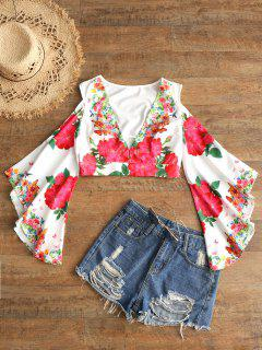 Floral Cold Shoulder Bell Sleeve Blouse - White L